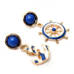 Nette blaue Anker Ruder Ohrringe Gold überzogen für Frauen