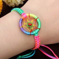 Nette bunte Leder Indian Dream Catcher Armband Einstellbar
