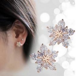 Cute Crystal Champagne Guld Snowflake Stud Øreringe til Kvinder