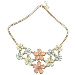 Cute Crystal Flowers Collar Pendant Statement Necklace For Women