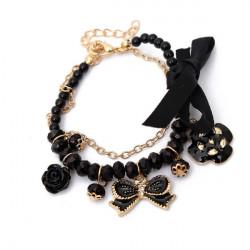 Cute Crystal Rose Bowknot Camellia Charm Bracelet For Women