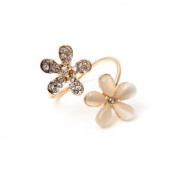 Cute Guld Rhinestone Opal Daisy Flower Fingerringe for Kvinder