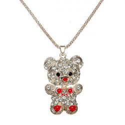 Netter Rhinestone Bären Goldketten Anhänger Halskette für Frauen