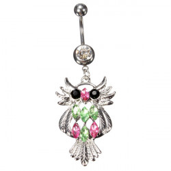 Cute Rhinestone Crystal Owl Navel Belly Button Ring Body Piercing