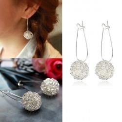 Cute Silver Alloy Nest Hollow Ball Drop Earrings For Women