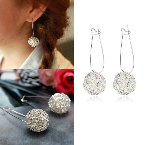 Cute Silver Alloy Nest Hollow Ball Drop Earrings For Women Women Jewelry