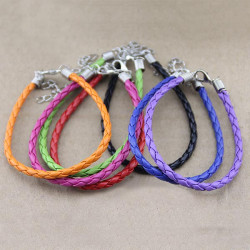 DIY Candy Color PU Leather Cord Bracelet Handmade Jewelry