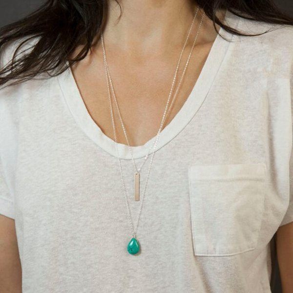 Double Chain Turquoise Alloy Strip Double Layer Pendant Necklace Women Jewelry