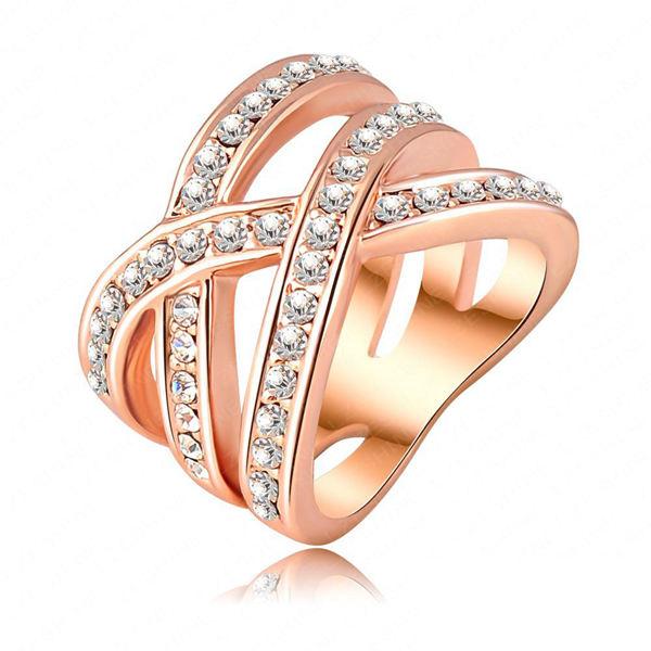 Double Cross Østrigske Krystal Kvinder Ring 18K Rose Forgyldt Damesmykker