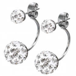 Double Crystal Balls U Shape Silver Rhinestone Stud Earrings For Women