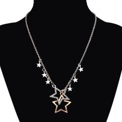 Dobbelt Pentagram Stjerne Crystal Rhinestone Sweater Halskæde