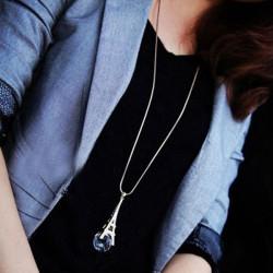 Eiffel Tower Rhinestone Crystal Ball Pendant Sweater Chain Necklace