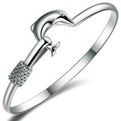 Elegant Silverpläterad Dolphin Cuff Bangle Armband för Kvinnor