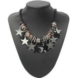 Five Star Pentagram Bead Chain Pendant Choker Statement Necklace
