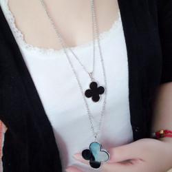 Four Leaf Clover Legierung langkettige Halskette für Frauen