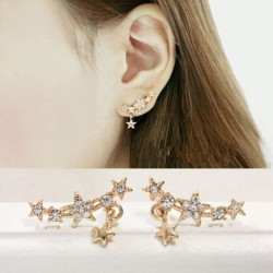 Full Rhinestone Little Stars Ear Stud Örhängen för Kvinnor