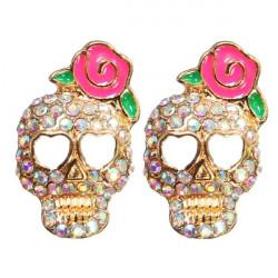 Full Rhinestone Skull Rosa Ros Blomma Stud Örhängen för Kvinnor