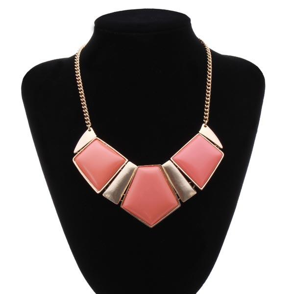 Geometrische Anhänger Statement Halskette Gold überzogene Kettenhalsreif Damenschmuck