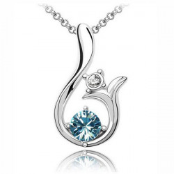 Glistening Crystal Lily Flower Pendant Necklace Short Chain