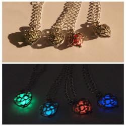 Glow In The Dark Locket Pierced Luminous Heart Pendant Necklace
