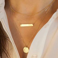 Guld 3 Lager Bar Rundade Paljett Geometri Charms Alloy Kedja Halsband