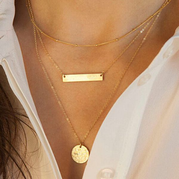 Gold 3 Layers Bar Rounded Sequin Geometry Charms Alloy Chain Necklace Women Jewelry