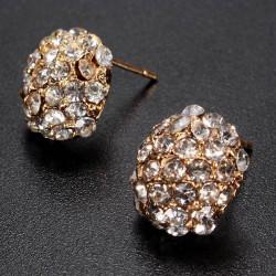 Gold Rhinestone Kristalllegierungs Ohrstecker für Frauen