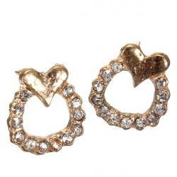 Gold Rhinestone runde Kreis Herz Bolzen Ohrringe für Frauen