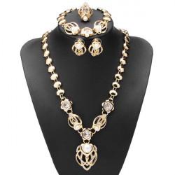 Gold Pearl Crystal Flower Necklace Earrings Bracelet Jewelry Set