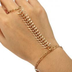Gold überzogen Hundertfüßer Armband Finger Ring Metallketten Armband