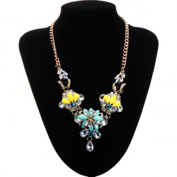 Gold Plated Chain Resin Crystal Flower Necklace Statement Jewelry