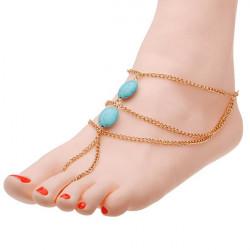 Vergoldet Chain Türkis Korn Fußkettchen Sandale Fuß Fußkettchen