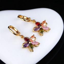 Forgyldt Farverige Zircon Krystal Blomst Øreringe Øre Studs til Kvinder