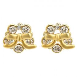 Gold Plated Crystal Flower Bowknot Stud Earrings Women Jewelry