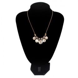 Gold Plated Crystal Rhinestone Opal Circular Pendant Short Necklace