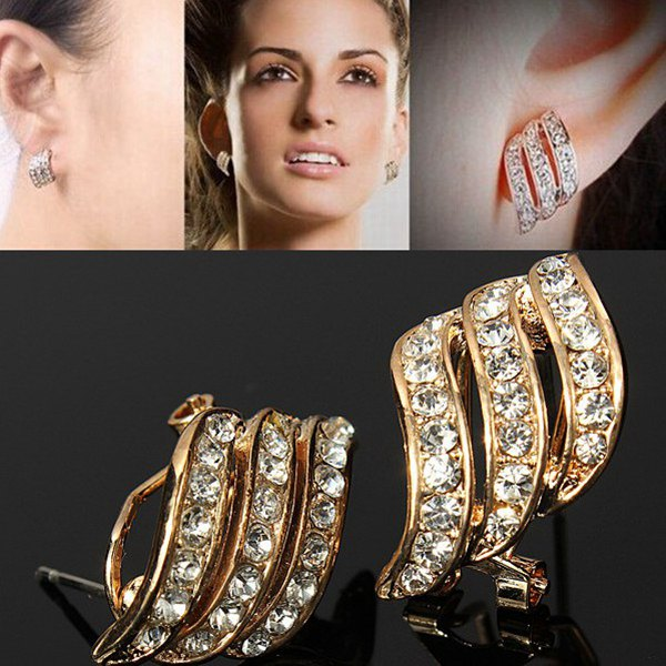 Gold Plated Crystal Rhinestone Wings Earrings Women Jewelry Women Jewelry