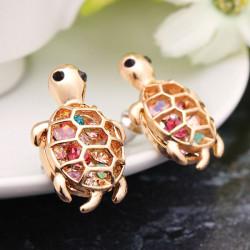 Gold überzogene nette kleine Schildkröte Kristall Ohrstecker für Frauen