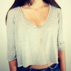 Gold Plated Fish Bone Body Chain Jewelry For Women