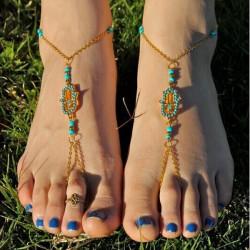 Forgyldt Hamsa Fatima Hand Turquoise Bead Toe Ring Ankelkæde