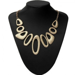Gold Plated Hollow Metal Geometric Bib Statement Necklace For Women