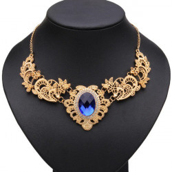 Gold Plated Hollow Metal Lace Pattern Crystal Necklace For Women