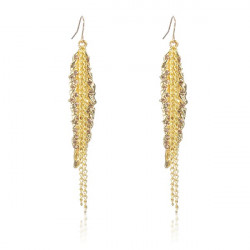 Gold überzogenes Blatt Strass lange Troddel Ketten Ohrring Ohr Tropfen