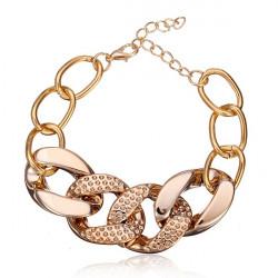 Guldpläterad Light Weight Tjock Chain Chunky Armband för Kvinnor