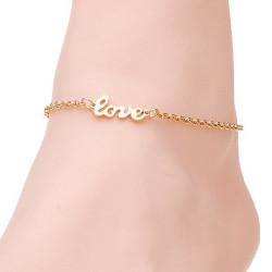 Gold überzogen Love Letter Charm Armband Armband Metallkette für Frauen