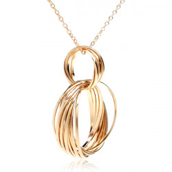 Gold Plated Multi Weave Hoop Circle Pendant Necklace Long Chain