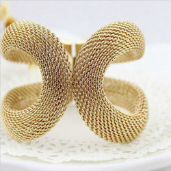 Forgyldt Net Web Bangle Mesh Metal Cuff Armbånd til Kvinder