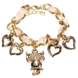 Guldpläterade Uggla Peach Hjärta Charm Ribbon Kedjearmband för Kvinnor