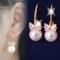 Gold Plated Pearl Crystal Bowknot Drop Earrings For Women
