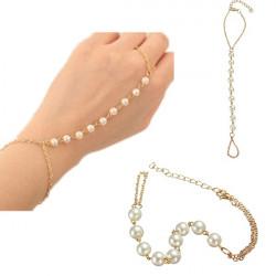 Guldpläterad Pärla Ring Armband Pärlor Metall Kedja för Kvinnor