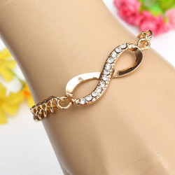 Gold Plated Rhinestone Crystal Infinity Link Chain Bracelet For Women